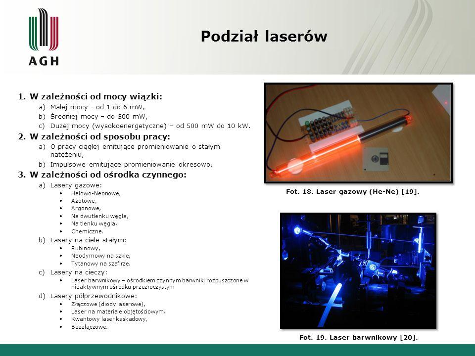 Fot. 18. Laser gazowy (He-Ne) [19]. Fot. 19. Laser barwnikowy [20].